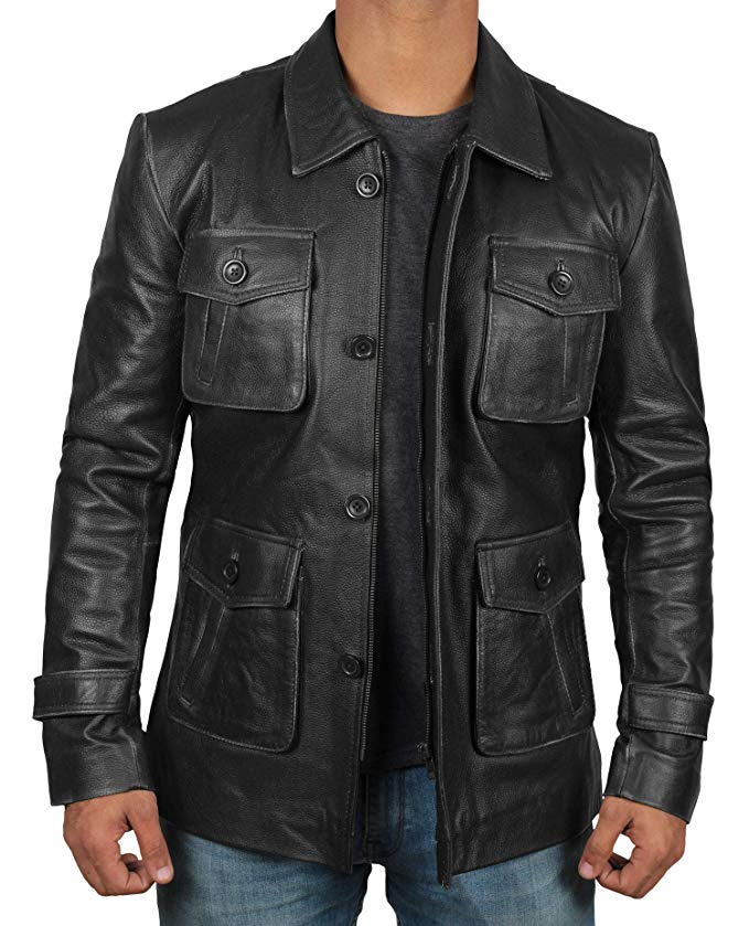 Black Natural Distressed Mens Leather Coats