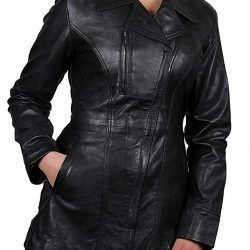 Brandslock Womens Long Leather Jacket