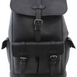 Coach Mens Hudson QB Black Pebbled Leather Backpack