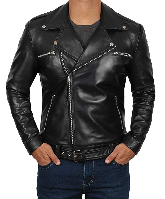 Genuine Lambskin Biker Black Leather Jacket for Men