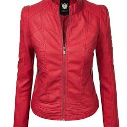 Lock and Love Womens Quilted Leather Moto Biker Jacket