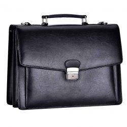 Mens Classic Leather Briefcase Messenger Bag