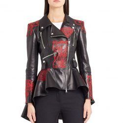 Splenor Premium Embroidered Peplum Women Leather Jacket