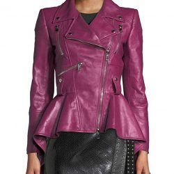 Splenor Premium Women Biker Leather Peplum Jacket