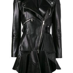 Takitop Medusa Black Peplum Leather Jacket
