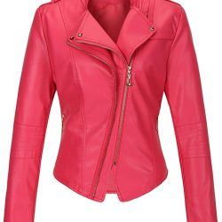 Tanming Womens Slim Zipper Leather Jacket