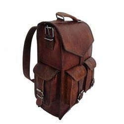 Vintage Leather Backpack by Indian Hando Art