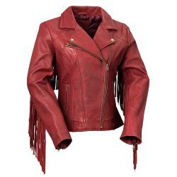 Whet Blu The Daisy Oxblood Womens Fringed Leather Jacket