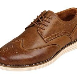 Kunsto Men's Leather Brogue Oxford Dress Shoes