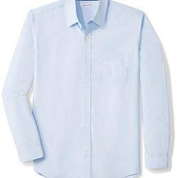 Amazon Essentials Men's Regular-Fit Long-Sleeve Solid Casual Poplin Shirt