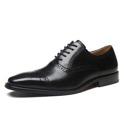 La Milano Mens Leather Cap Toe Lace up Oxford Classic Modern Business Dress Shoes