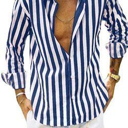 Mens Vertical Striped Casual Dress Shirt