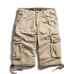 OCHENTA Cotton Loose Fit Cargo Shorts